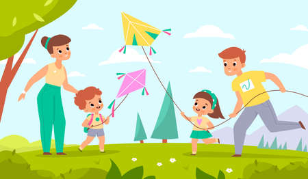Family fly kites. Happy mother and father with children launch wind toys into sky. People walking in park. Parents and joyful kids spend time together. Vector summer outdoor recreation