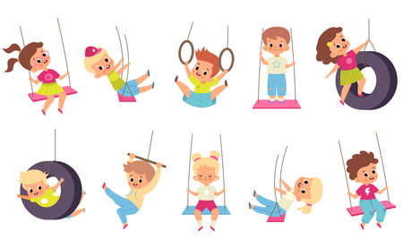 Rope swings kids. Cartoon boys and girls flying on seesaw. Types set of children carousels. Babies play on playground.. People walk and have fun in park. Vector outdoor activities