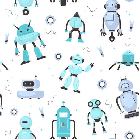 Seamless pattern kids robots. Funny childish robotic mascot, school inventions, modern technology, mechanic toys. Decor textile, wrapping paper wallpaper vector print or fabric
