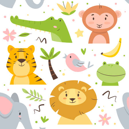 Seamless pattern cute animals. Kids cartoon african fauna characters, birds, mammals and reptiles, flowers and dots. Decor textile, wrapping paper wallpaper vector print or fabric
