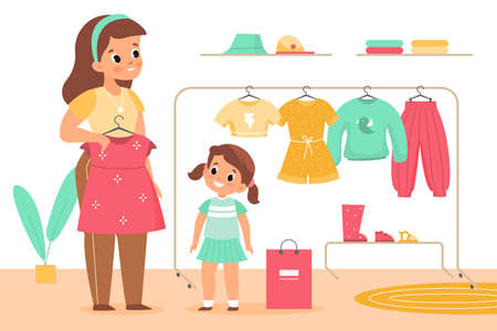 Kids clothing store. Girl with mother in boutique. Family shopping. Mom helps daughter choose dress. Child and parent buy garments. Clothes rack with hanger. Vector baby tries clothes 일러스트
