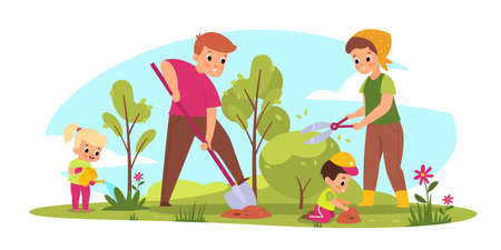 Family gardening. Parents and children take care of plants. Seasonal farm work. Mother cuts bush. Father digs ground. Kids watering and planting flowers. Vector outdoor people activities 일러스트
