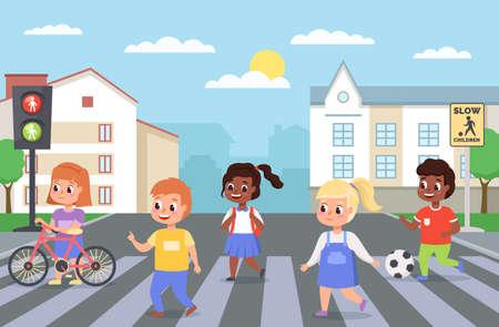 Kids walking crosswalk. Children cross road on zebra crossing. Girls and boys follow pedestrian rules. Safe stepping roadway. Urban landscape with traffic lights. Vector preschoolers 일러스트