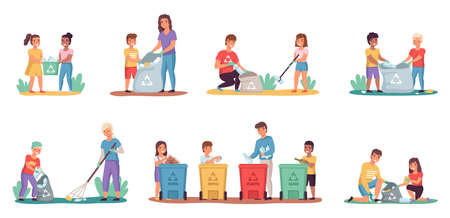 People sort garbage. Kids with parents clean up trash. Characters put rubbish in containers or bags for litter. Families take care of nature and ecology. Vector persons collect waste