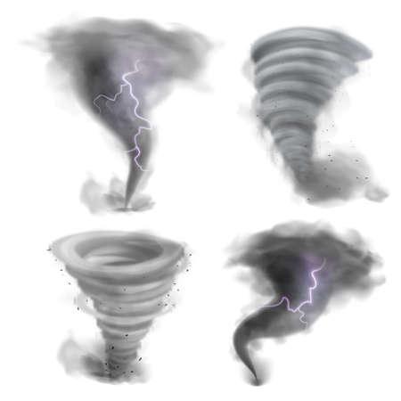 Hurricane vortex. Realistic tornado, 3D twister storm with lightning bolt. Whirlwind air funnels set. Natural disaster. Destructive phenomenon. Spiral wind motion. Vector catastrophe 일러스트