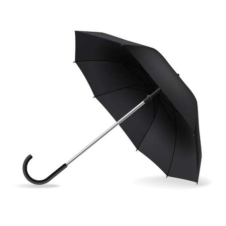Open umbrella. Realistic black mockup. Side view weather object on ground with shadow, rain protect, parasol for branding, advertise and presentation single vector isolated element