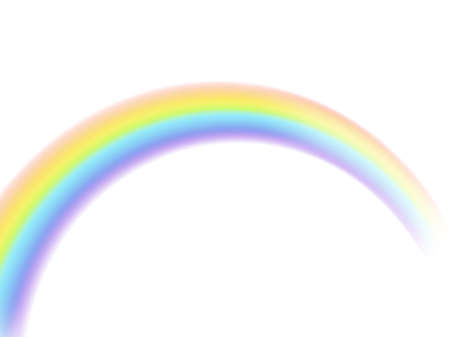 Rainbow. Arch realistic symbol of rain. Perspective view object isolated on white background natural weather effect, multicolor sky reflection, curved stripe design element vector illustration
