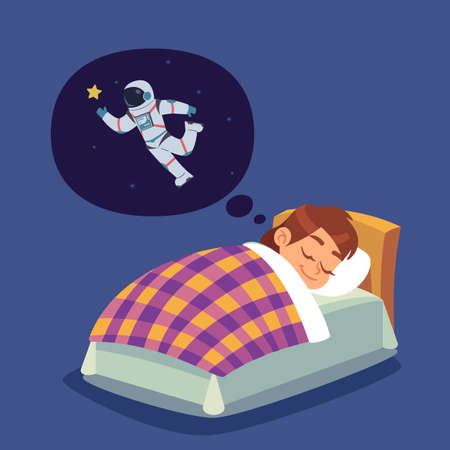 Children sleep. Kid in bed dreaming of space flight. Boy wants to become astronaut. Character thinking about cosmonaut and space exploration. Vector teenager imagines himself spaceman Vector Illustratie