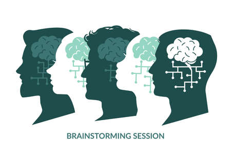 Brain system. Brainstorming session. Cyberbrain human heads silhouettes. Males and females look in same direction. Collective thinking. People unite to solve problems. Vector teamwork