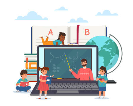 Distance learning. Children study online. Remote education. Cartoon pupils watching teacher video lecture. Students and teacher use laptop for communication. Vector web chemistry lesson 일러스트