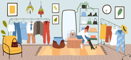 Dressing room. Woman puts on or tries clothes. Comfortable apartment with rack for garments and shelves shoes or fashion accessories. Mirror and soft armchair. Vector clothing storage 일러스트