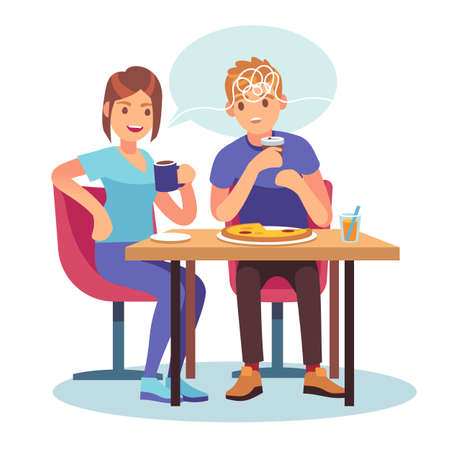 Friends gossip. Cartoon couple chatting in cafe. Girl tells news to boy. Surprised man and woman sit at table in restaurant. Gossiping people and speech bubble. Vector communication