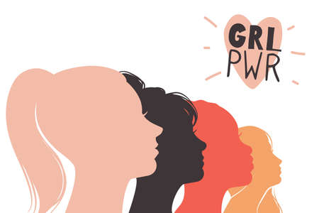 Girls power. Feminism concept. Female profiles and heart sign with abbreviation. Heads silhouettes. Social women movement. Fight for equal rights and opportunities. Vector sisterhood