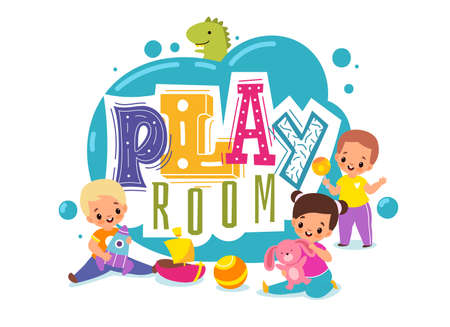 Kids play room. Playground cartoon logo. Children zone for games. Boys and girls with plush bunny or toy rocket. Toddler holds rattle. Colorful lettering. Vector baby entertaining area