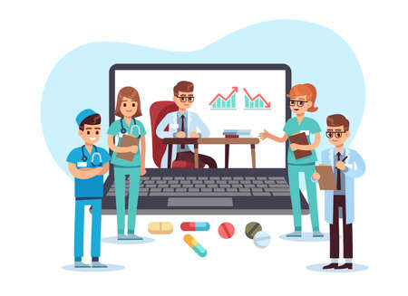 Medical conference video call. Remote online communication with doctors. Web consultation for patients. Hospital workers virtual interaction. Internet teleconference. Vector medicine