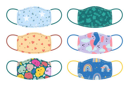 Medical mask. Cartoon respirators with kids prints. Isolated fashionable medical face accessories set. Coronavirus pandemic prevention. Quarantine safety. Vector protective clothes