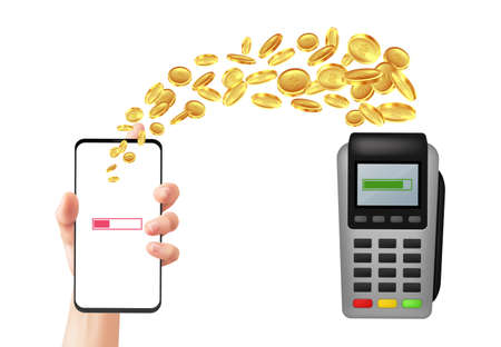 Mobile payment. Online banking. Person transfer money using bank acquiring. Realistic flight of gold coins between smartphone and wireless pay terminal. Vector financial transactions 일러스트
