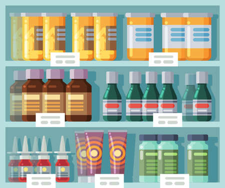 Pharmaceutical shelves. Medicine rack. Front view of store showcase with labels. Medicated creams and jars with capsules. Medical sprays and mixtures. Vector choice of drugs in pharmacy