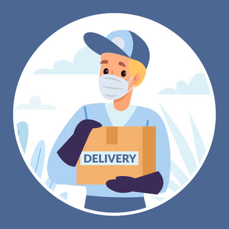 Protected delivery peephole view. Person looks through hole in door. Courier brings parcel. Man in protective mask and gloves rings bell. Coronavirus isolation vector safe order shipping