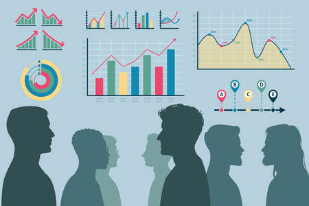 Teamwork process. Male heads silhouettes and infographics. Effective team workflow organization. Display of labor productivity growth in charts. Vector office employees work together