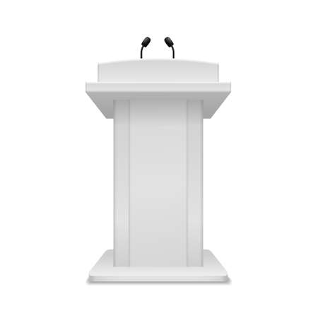 Podium speaker. Debate tribune white stand with microphone front view. Pedestal for lecture, award ceremony, press interview and political debate 3d empty platform for speakers vector illustration 일러스트
