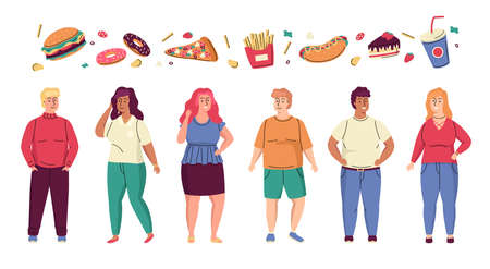 Fat people. Cartoon overweight men or women. Fast food and fatty nutrition leads to obesity. Unhealthy habits. Obese characters eat donuts or hamburgers. Vector adiposity persons set