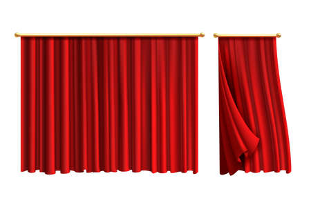 Red curtains. Realistic luxury curtain on golden decor, domestic fabric interior drapery. Silk or velvet scene decoration, theatre or circus portiere. Vector isolated on white 3d objects