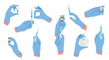 Medical hands. Arms in aseptic surgical gloves blue color, vaccination, virus protection, laboratory tests, hold vial, pills and syringe. Inject covid-19 vaccine vector cartoon isolated set