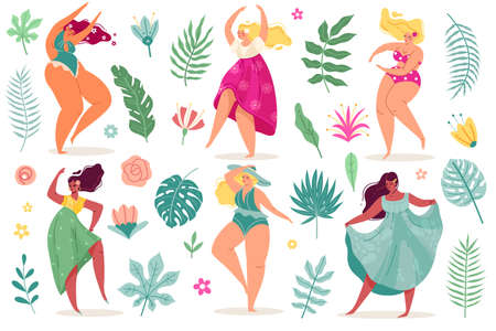 Summer flowers women. Pretty body positive dance young sexy girls in dresses and swimsuits with long hair, tropical exotic leaves and flowers. Vector modern cartoon flat style isolated set 矢量图像