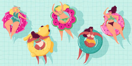 Women swim ring. Happy body positive girls floating in pool on inflatable circles, summer vacations in sea, ocean leisure time, relaxed people in water. Vector modern cartoon isolated set 矢量图像