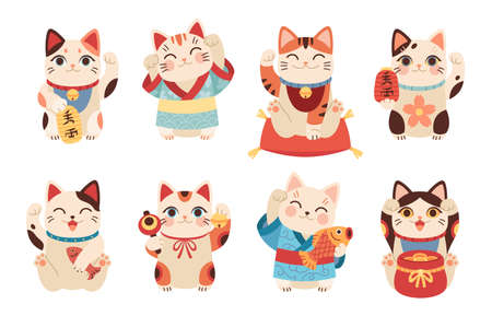 Japanese maneki cats. Asian lucky figurines, cute animals with raised paw, national tradition and culture symbol, funny money and fortune kittens. Vector cartoon flat isolated set
