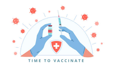 Hands with syringe. Arms in medical gloves make injection, virus protection, immune system development, bacteria and germs. Coronavirus prevention, Covid-19 vaccination poster vector concept
