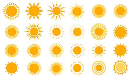 Sun icons. Modern simple seasons signs, summer emblems, sunshine silhouette with different rays style, heat weather symbols. Monochrome yellow solars logos, vector isolated on white set 矢量图像