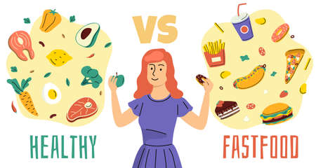 Healthy unhealthy food. Girl chooses between proper nutrition and fast food, diet plan, woman makes choice, different meal meat and fish, fruits and vegetables. Vector isolated concept