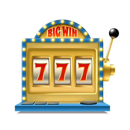 Casino jackpot. Slot machine. One lever armed bandit with numbers. Vintage machined spinning reel. Gambling equipment with lucky 777 combinations. Winning fortune. Vector illustration 矢量图像