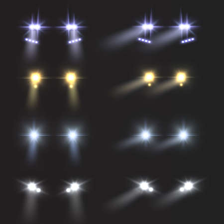 Headlights car. Realistic round bright vehicle front lamps. Light flares and blur shadows effect. Automobile glow beams in night. Driving transport in dark. Vector auto spotlight set