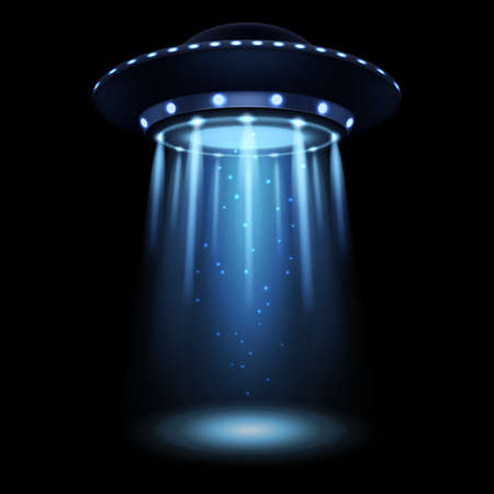 UFO. Realistic alien spaceship with light beam. Futuristic Sci-fi unidentified spacecraft. 3D flying saucer and abduction spotlight ray. Space transport illumination. Vector illustration 矢量图像