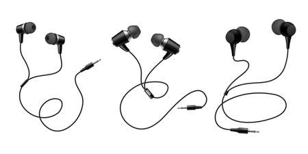 Earphones. Black headphone. Realistic audio gadget with speaker. View from different sides on mobile headset. Wire equipment for listening music. Device accessory. Vector earbuds set
