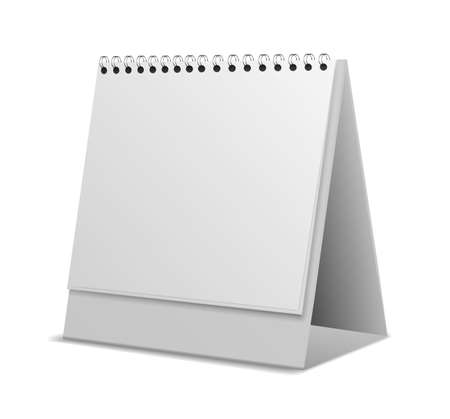 Calendar. Realistic monthly or weekly organizer. White empty desktop stand. Office stationery template for branding. Blank paper sheets and metallic spiral binder. Vector illustration