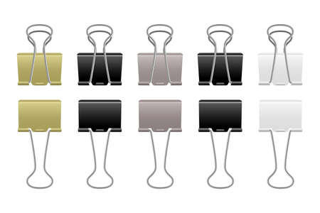 Paper clips metallic. Realistic steel binder. Office supplies. Stationery for documents binding. Isolated black and white fastenings. Silver or golden clamps. Vector file holders set