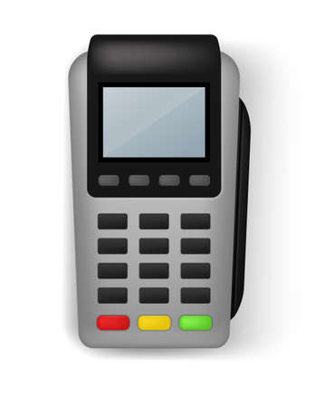 Payment terminal. Realistic banking electronic equipment. wireless gadget to pay for purchases. Financial transaction. Device for money transfer with credit cards. Vector illustration