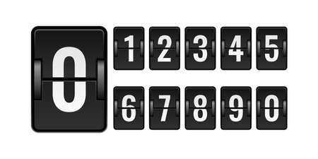 Scoreboard mechanical. Numbers for counter. Flipping watch panel elements kit. Isolated square board set for time scoring. Automatic countdown equipment. Vector clock or calendar mockup