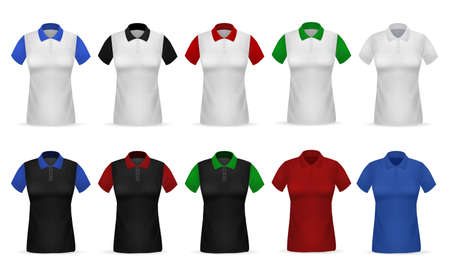 T-shirt Polo. Realistic female clothing. White or black garments with colorful sleeves and collar. Cotton shirts set. Uniform for women. Sport apparel template. Vector casual clothes