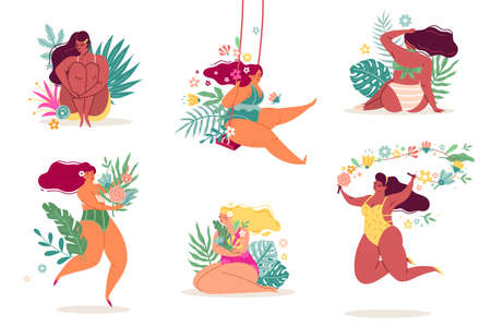 Women in flowers. Body positive ladies in beautiful tropical leaves and plants. Females set with bouquets sunbathe on beach. Happy girls in bikinis. Vector spring and summer seasons