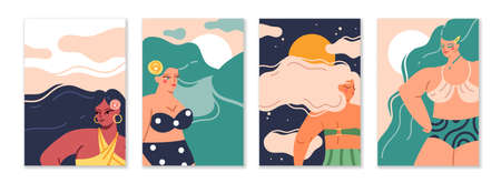 Female long hair. Cartoon women with wavy hairstyle. Cute characters wear swimsuits. Beautiful femmes and nature silhouettes. Summer recreation. Girl portraits. Vector greeting cards set