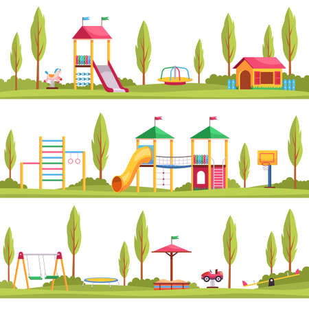 Kids playgrounds. Children outdoor entertainment devices. Multiple location options. Playing area with slide and swing. Recreational equipment. Sandbox and trampoline in park. Vector set