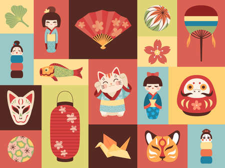 Japanese toys. Asian cultural elements. Mini banners with national items. Lucky symbols. Kokeshi dolls. Maneki cats and masks. Origami crane or kids traditional balls. Vector cards set