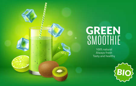 Fruit juice poster. Realistic green kiwi and lime fresh in glass. Bright advertising banner. Cocktail straw in cold smoothie drink and ice cubes. Natural healthy beverage. Vector concept