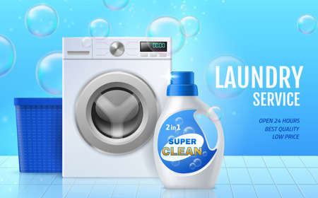 Laundry service. Washing machines equipment and preparations. Professional cleaning and caring of clothes. Soap bubbles. Washer and bottle with detergent. Vector advertising banner