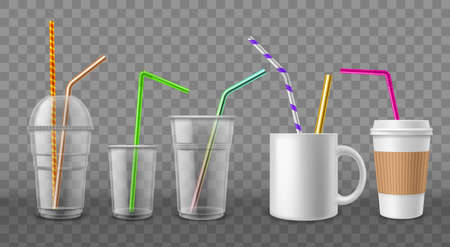 Cups with straws. Realistic disposable mugs. 3D ceramic and cardboard utensil with metal or plastic beverage tubes. Drinking bar devices mockup. Vector coffee or cocktail tableware set